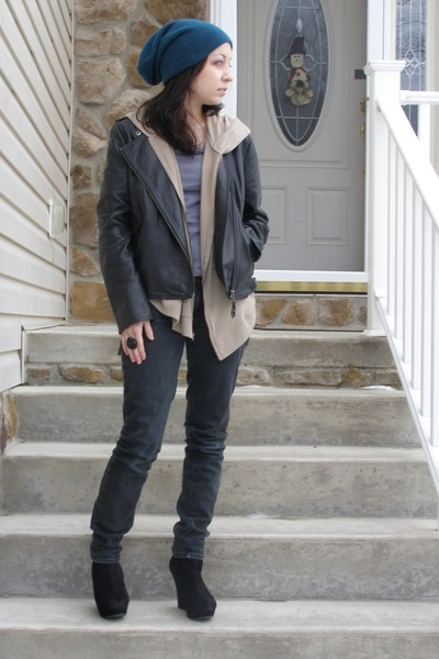 black boots - dark gray jeans - teal Forever 21 hat - black jacket - gray Foreve