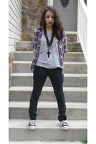 black DIY shoes - heather gray Forever 21 shirt - black pants