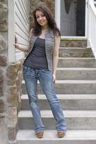 light blue jeans - silver Forever 21 vest - gray Forever 21 top - tawny heels -