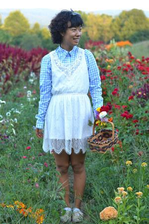 sky blue asos top - white Forever 21 dress