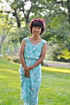 aquamarine China dress - salmon flower crown Forever 21 accessories