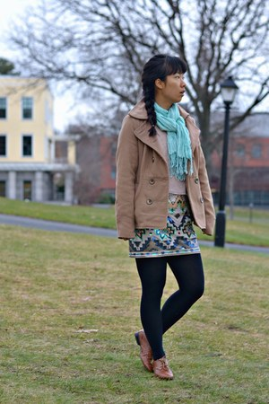 ivory Express skirt - light pink kohls sweater - aquamarine China scarf