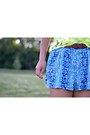 Turquoise-blue-forever-21-shorts-dark-brown-forever-21-belt