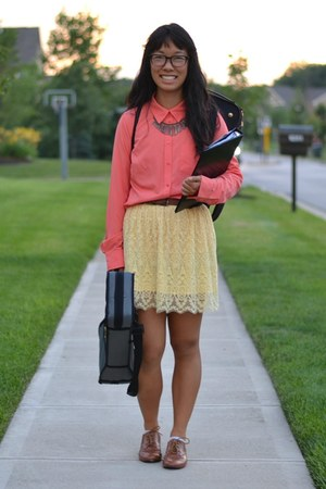 light yellow H&M skirt - tawny Forever 21 shoes - coral Target top