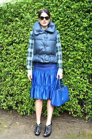 plaid Zara shirt - blue Prada bag - blue Burberry skirt - lace-up booties Yves S