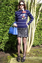 vintage sweater - bright blue Prada purse - wayfarer style Oliver Peoples sungla