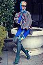 Blue-lace-stretch-poof-dress-donna-karan-tights-blue-soft-vintage-scarf