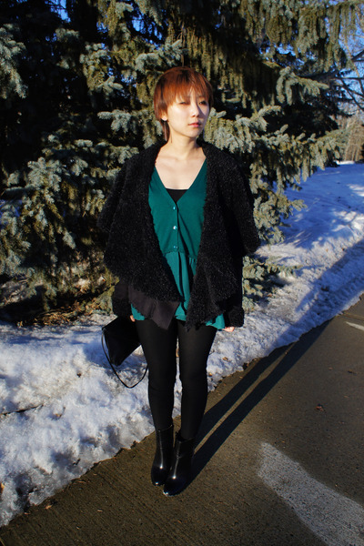 teal green Zara cardigan - black