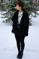 leather coat - white Forever21 shirt - white  blue scarf