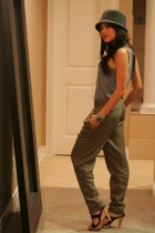 aa top - f21 pants - f21 hat - Chinese Laundry shoes - banana republic necklace