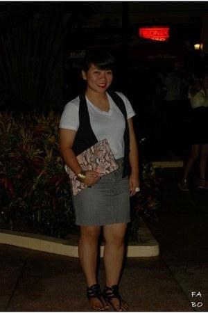 bench shirt - Zara vest - Just G skirt - Possibility purse - thrifted vintage br