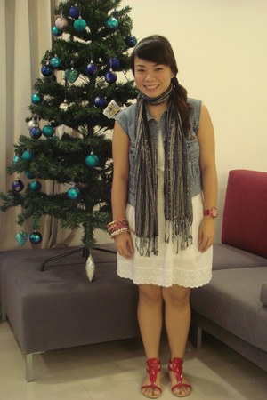 cotton on scarf - DKNY vest - Forever 21 dress - Charles & Keith sandals - Swatc