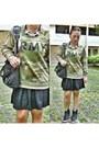 Olive-green-forever-21-sweater-black-balenciaga-bag-black-nike-sneakers