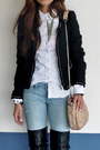 White-shirt-black-blazer-blue-jeans-purse-black-boots-silver-accessori