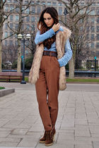 beige fur vest - brown leopard print boots - brown boots - blue denim shirt