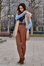 Brown-boots-blue-shirt-beige-vest-brown-trousers-brown-boots