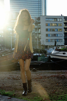 black biker Gap boots - FCUK skirt - yellow cardigan reserved - black Zara top