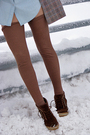 Blue-shirt-brown-blazer-beige-leggings-brown-stockings-brown-boots-bro