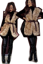 black shorts - black thigh-high boots - black faux fur vest - black slouchy bag