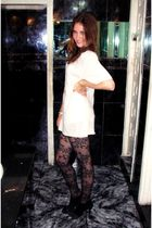 white vintage blouse - black Zara tights - black Zara shoes - silver H&M accesso