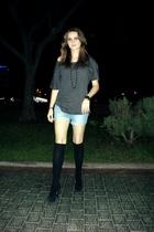 gray Stradivarius t-shirt - blue Pimkie shorts - black Primark socks - black H&M