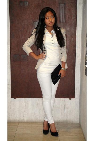 beige Zara jacket - black Zara shoes - beige Ralph Lauren shirt - black H&M bag