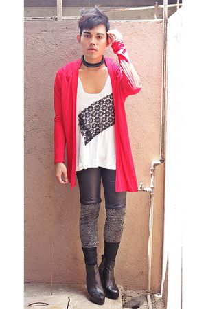 red Dorothy Perkins cardigan - white DIY t-shirt - black shorts - gray leggings