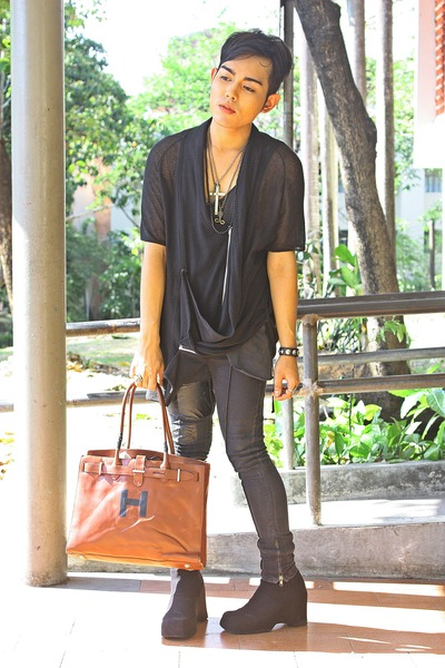 black maple creek shirt - black Vero Moda pants - black DIY shoes