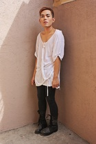 white Zara shirt - black Miss Sixty pants - wedins boots
