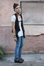 Black-little-miss-marie-vest-blue-cheap-monday-pants-white-topshop-shirt-b