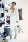 Dark-khaki-kermit-tesoro-shoes-white-hussein-chalayan-coat