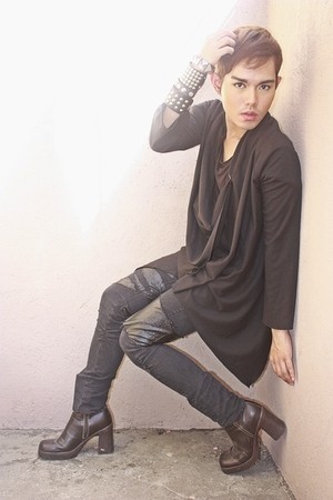black Oasis cardigan - black pants - brown No Boundaries shoes - black Zegna shi
