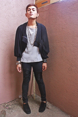 black jacket - black pants - gray Zara shirt - black Nine West shoes - gold cros