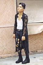 black betty system blazer - black DIY pants - white Zara top - black DIY boots -