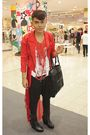 Red-don-protasio-coat-red-dorothy-perkins-cardigan-white-diy-t-shirt-black