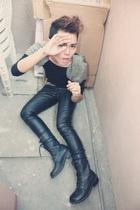 black Pink Manila top - black Zara pants - boots