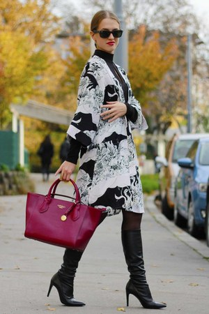 black Zara boots - black asos dress - ivory kimono Topshop coat
