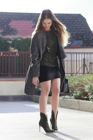 gray Drykorn coat - forest green ankle boots paul andrew boots