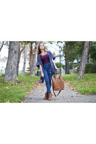 tawny H&M boots - blue Forever 21 jeans - tawny H&M bag - navy poncho H&M cape