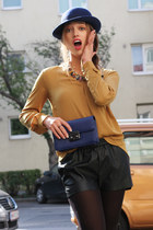black leather Zara boots - blue H&M hat - blue Mango bag