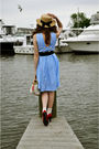 Blue-vintage-dress-brown-urban-outfitters-hat-white-accessories-white-aman