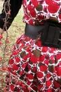 Red-talbots-dress-black-duo-boots-black-belt-black-macys-shirt