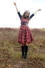 Red-talbots-dress-black-duo-boots-black-belt-black-macys-shirt