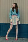 Blue-vintage-blouse-beige-urban-outfitters-skirt-pink-vintage-shoes-white-