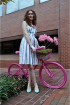 pink Ruche necklace - blue vintage shoes - white Anthropologie dress