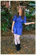 blue vintage dress - black Miss Me boots - silver HUE leggings - black H&M neckl