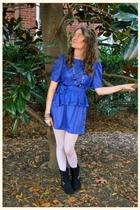 blue vintage dress - black Miss Me boots - silver HUE leggings - black H&M neckl