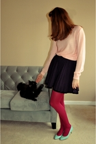 pink vintage sweater - blue modcloth skirt - green vintage shoes - pink HUE tigh