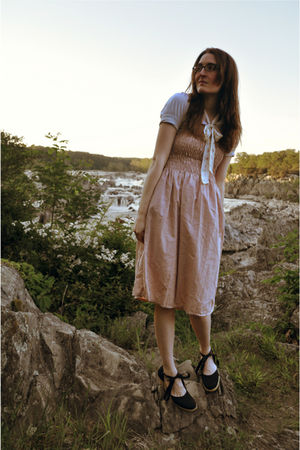 white Urban Outfitters blouse - brown Fashion Bug shoes - pink vintage dress