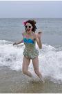 Blue-vintage-swimwear-pink-accessories-white-sunglasses